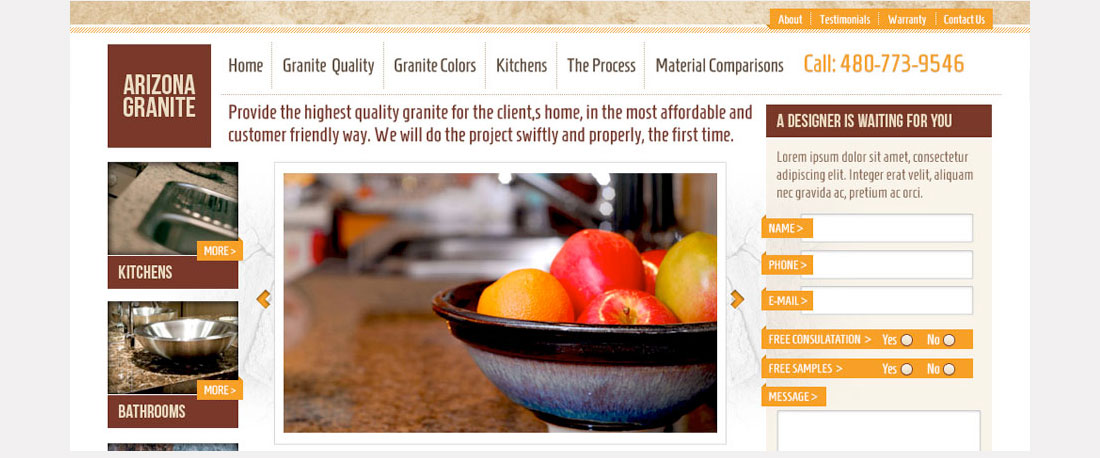 Arizona Granite Website Design Splash Page